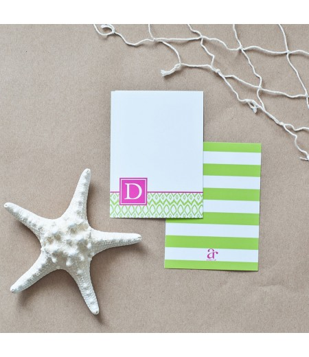 Hamptons Collection - Printable Monogram Ikat Stationery - Pink and Lime