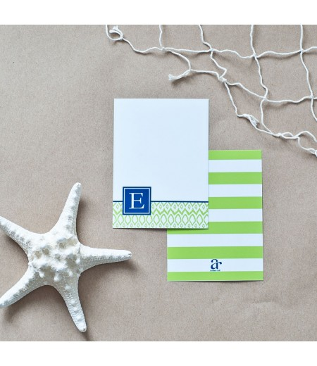 Hamptons Collection - Printable Monogram Ikat Stationery - Navy and Lime