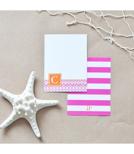 Hamptons Collection - Printable Monogram Ikat Stationery - Pink and Orange
