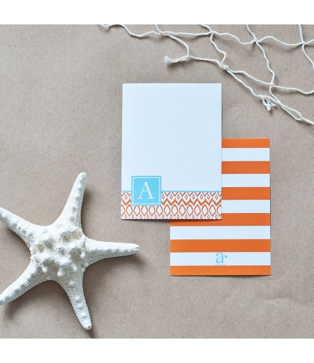Hamptons Collection - Printable Monogram Ikat Stationery - Aqua and Orange