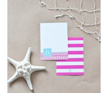 Hamptons Collection - Printable Monogram Ikat Stationery - Pink and Aqua