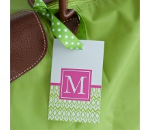 Hamptons Ikat Printable Monogram Luggage Tags - Editable - Instant Download