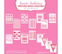 Hearts Birthday Party Printables Collection