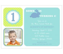 Hoppy Birthday Bunny - Customized Printable Invitation - Blue and Green