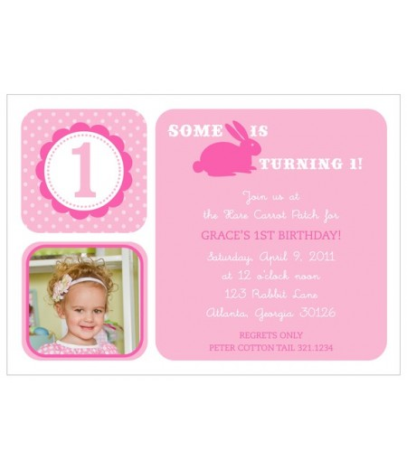 Hoppy Birthday Bunny - Customized Printable Invitation - Light Pink