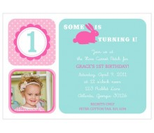 Hoppy Birthday Bunny - Customized Printable Invitation - Pink Aqua