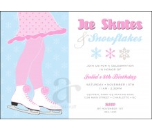Ice Skates and Snowflakes Birthday Party Printable Invitation