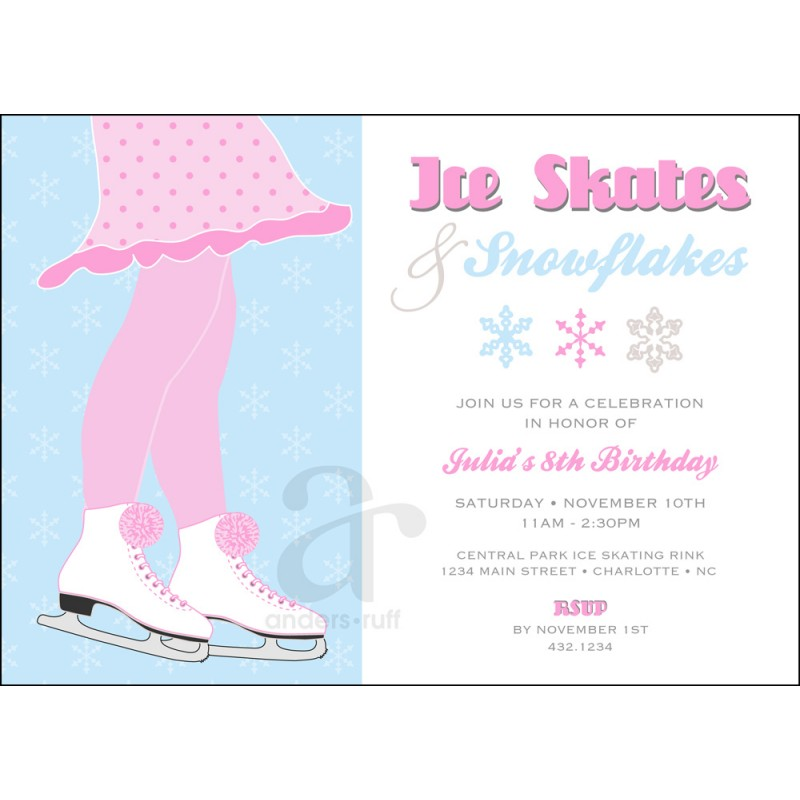 Ice skates and snowflakes birthday party printable invitation filmwisefo