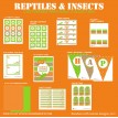 Reptiles and Insects Birthday Party Printables Collection - Orange and Green