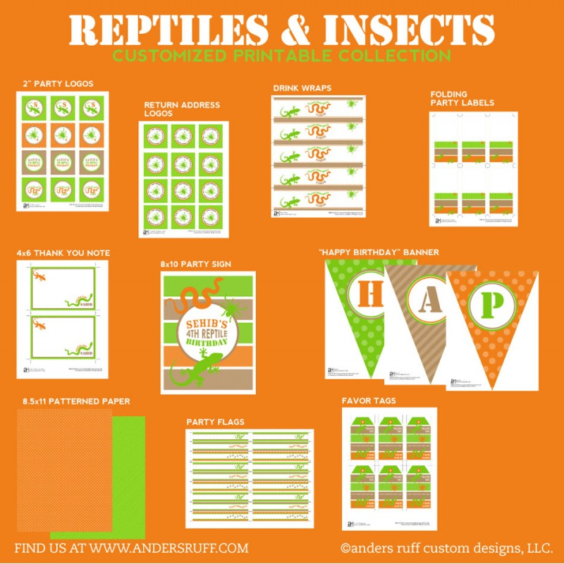 Reptiles And Insects Birthday Party Printables Collection