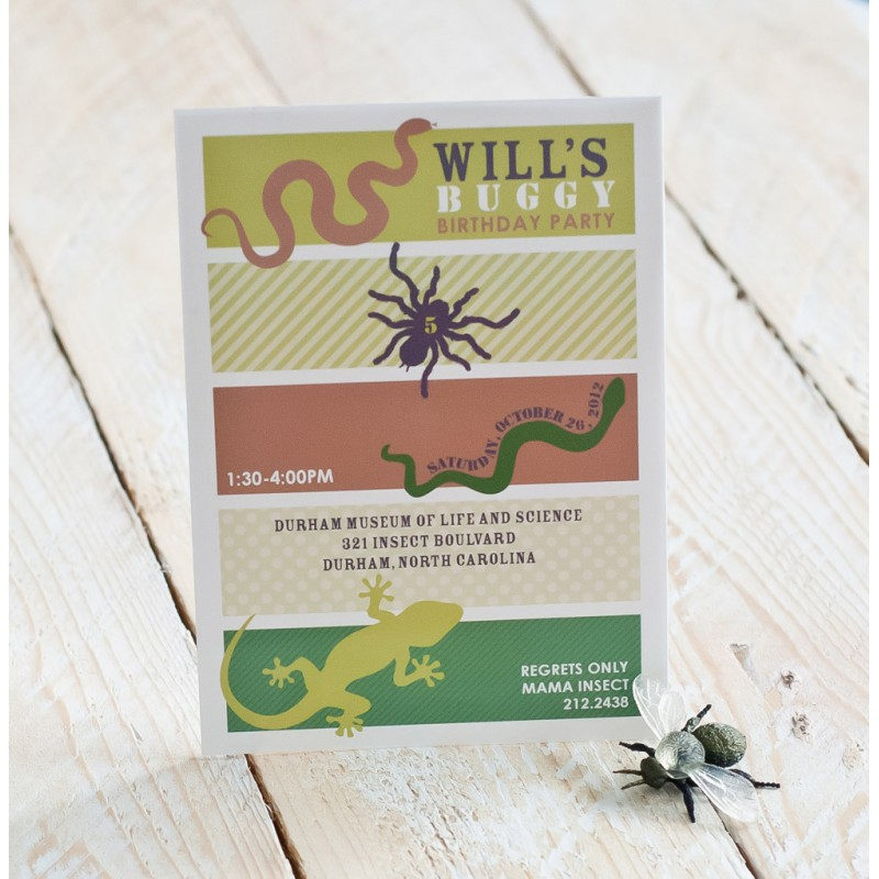 Insects And Reptiles Birthday Party Printable Invitation