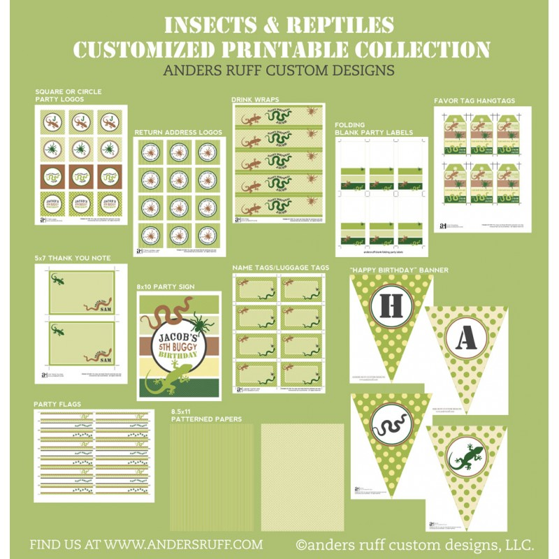Insects And Reptiles Birthday Party Printables Collection