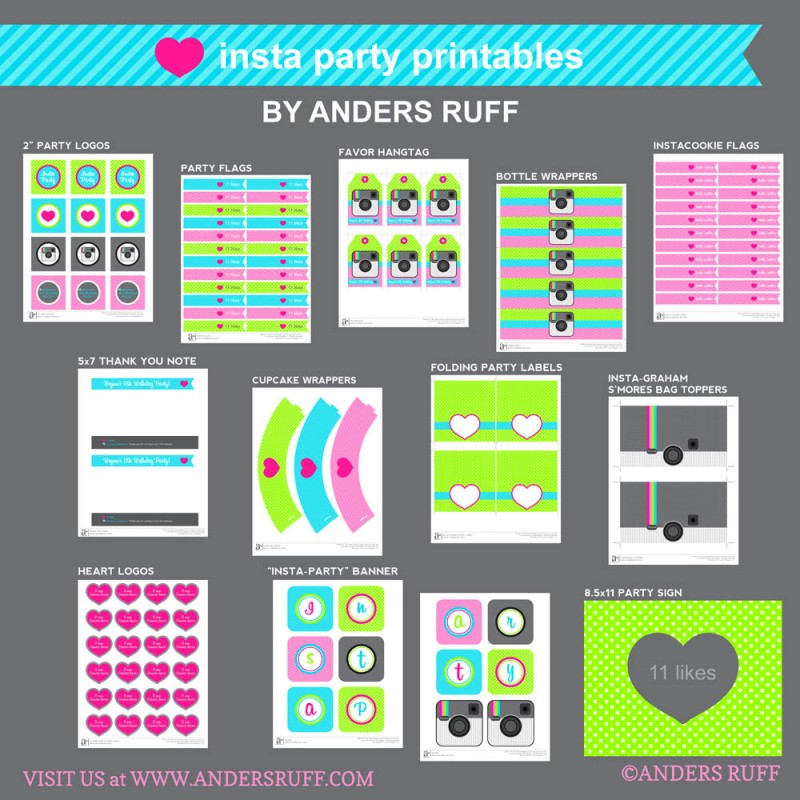Insta Party Teen Tween Birthday Printable Collection