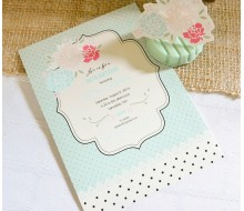 Shabby Chic Vintage Rose and Polka Dot Birthday Printable Invitation - Jaci Collection - Aqua