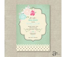Shabby Chic Vintage Rose and Polka Dot Bridal Shower Printable Invitation - Jaci