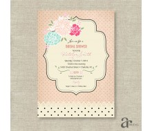 Shabby Chic Vintage Rose and Polka Dot Bridal Shower Printable Invitation - Jaci - Blush Pink