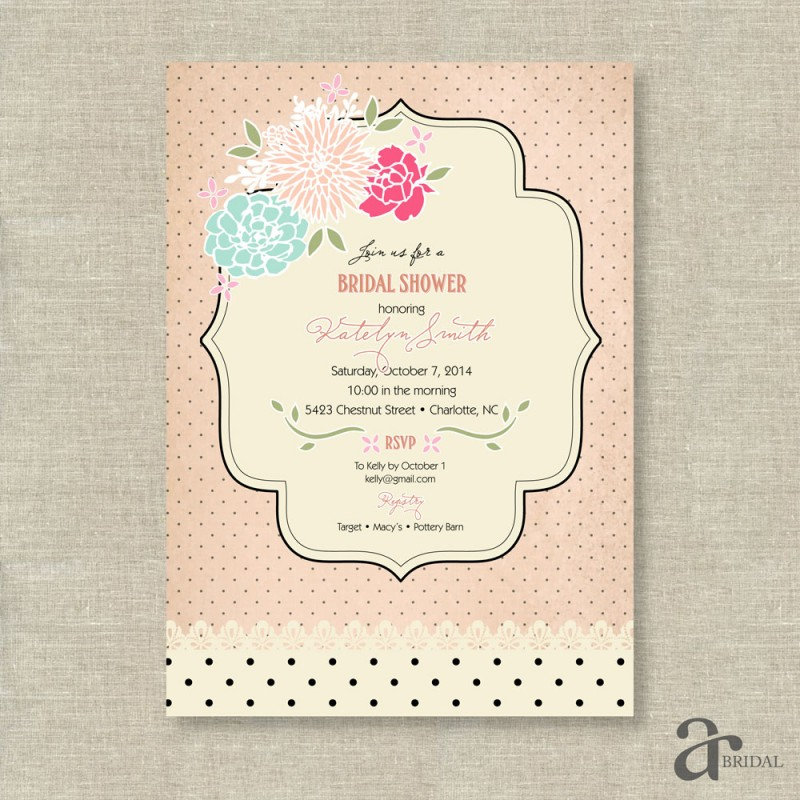Shabby chic vintage rose and polka dot bridal shower printable shabby chic vintage rose and polka dot bridal shower printable invitation jaci blush pink filmwisefo