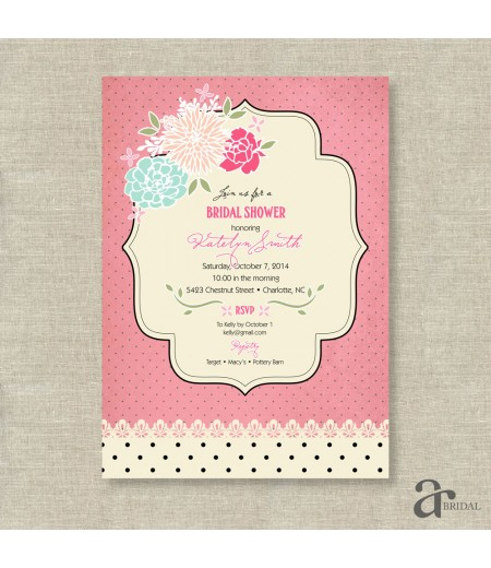 Shabby Chic Vintage Rose and Polka Dot Bridal Shower Printable Invitation - Jaci - Pink