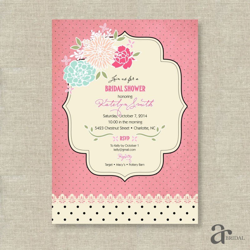 Chic Vintage Rose and Polka Dot Bridal Shower Printable Invitation ...