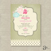 Shabby Chic Vintage Rose and Polka Dot Bridal Shower Printable Invitation - Jaci - Sage