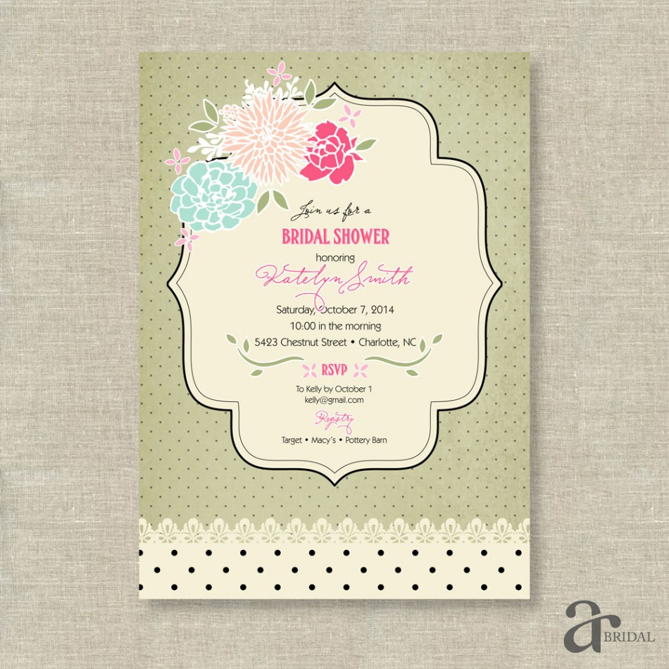 Rose and Polka Dot Bridal Shower Printable Invitation  Jaci  Sage