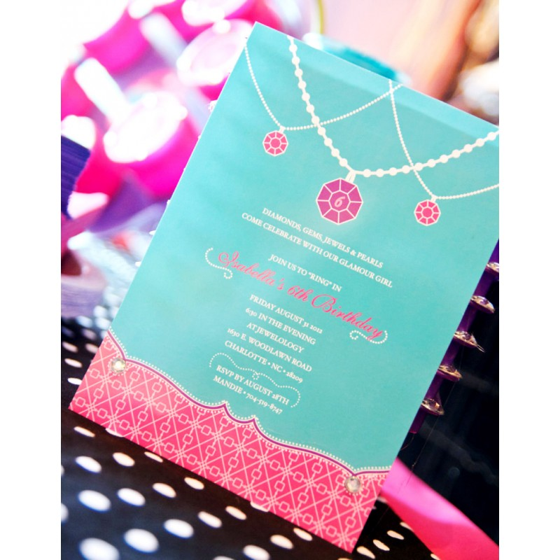 Girl Jewelry Birthday Party Printable Invitation