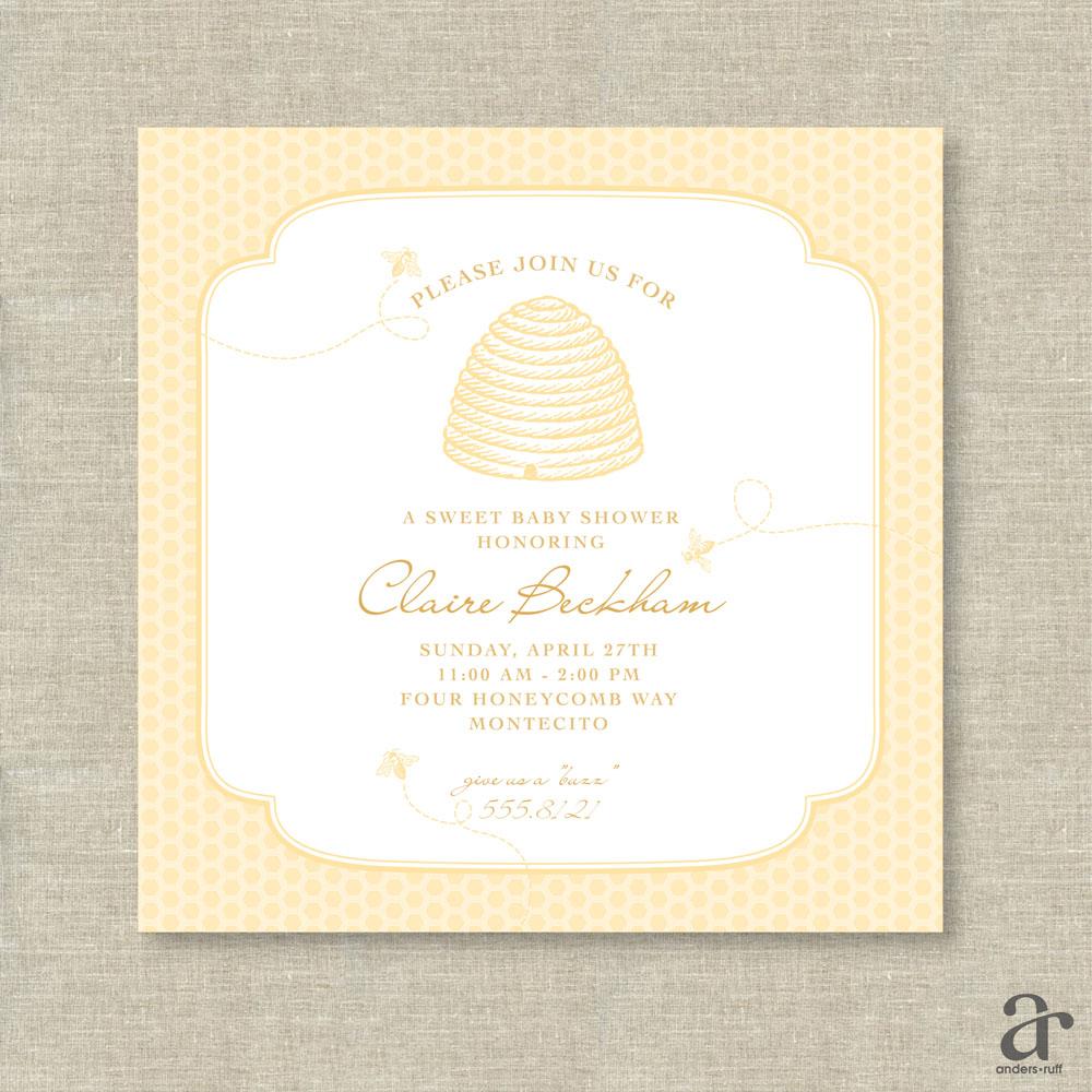 Honeycomb Bee Baby Shower Gender Reveal Invitation, Housewarming or ...