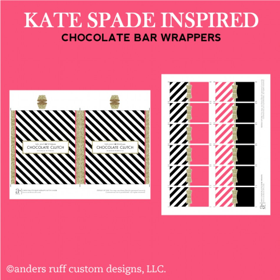 Kate Spade Inspired Gold Bow Glitter Chocolate Bar Wrappers