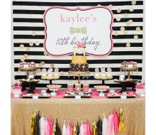Fashion Inspired Bow Gold Glitter Birthday Party Printables Collection