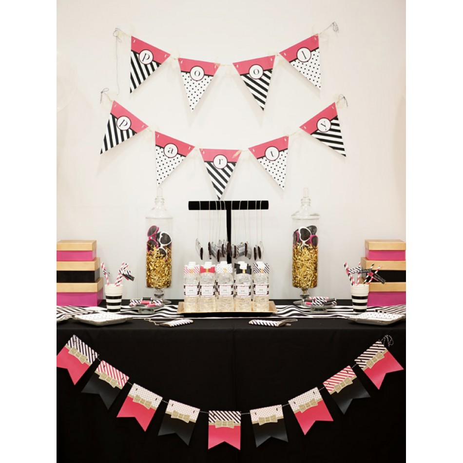 Kate Spade Inspired Bow Gold Glitter Birthday Party