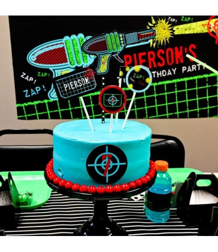Laser Tag Black Neon Birthday Party Printable Cake Toppers Set