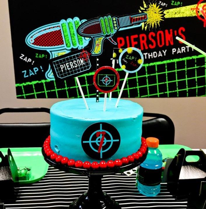 Tag Black Neon Birthday Party Printable Cake Toppers Set