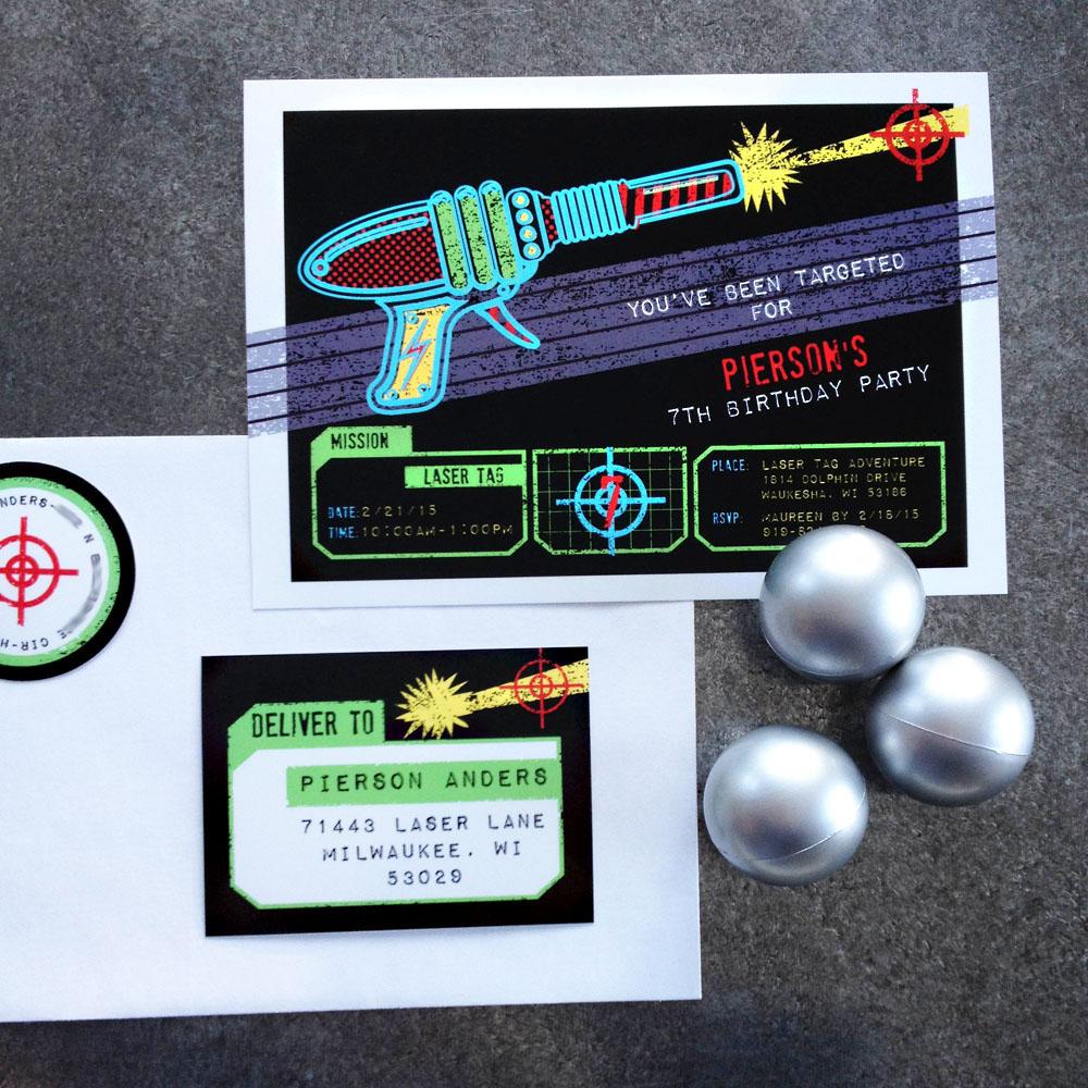 Tag Black Neon Birthday Party Printable Invitation