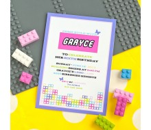 Modern Building Brick Girls Birthday Party Printable Invitation