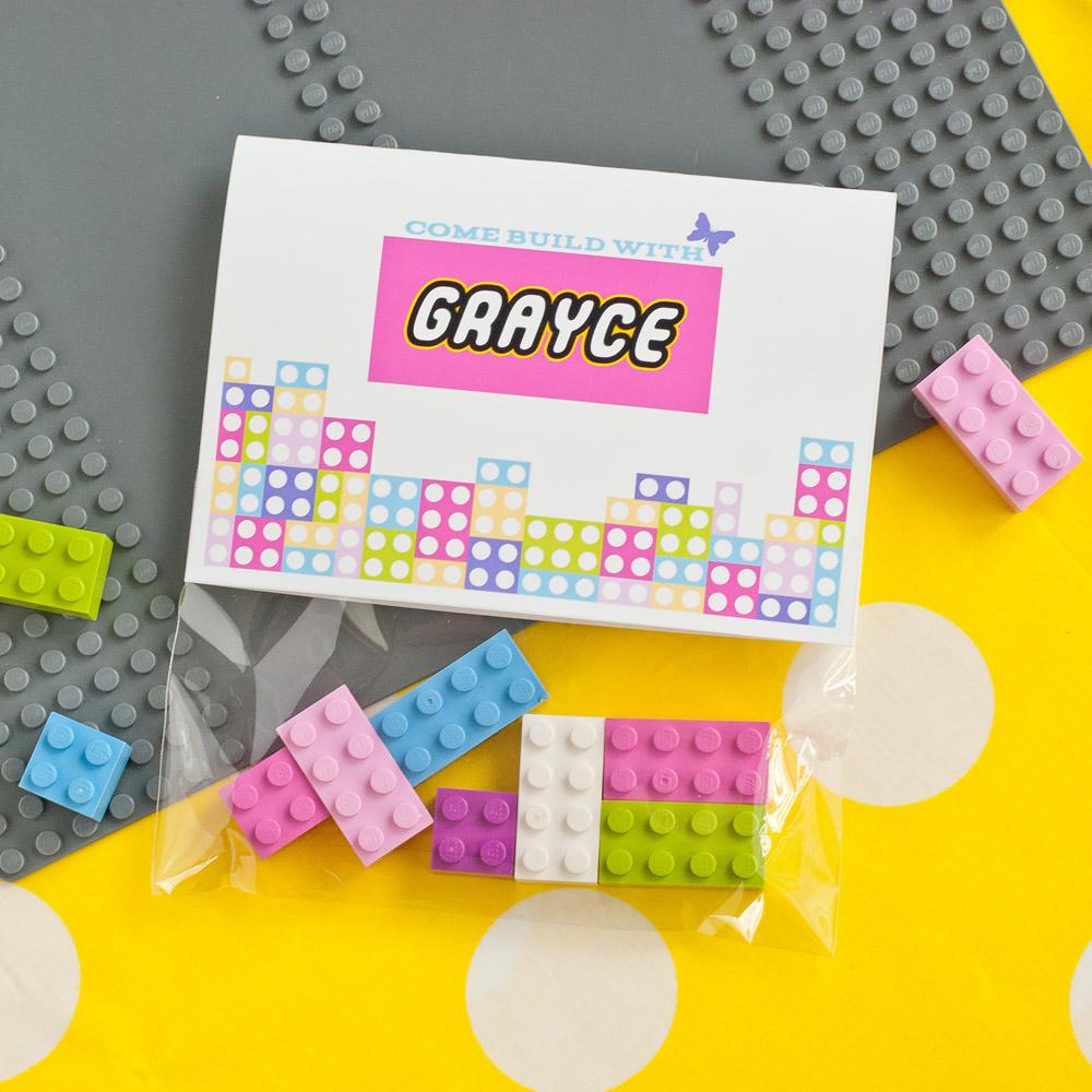 Building Bricks Girls Birthday Party Printable Invitation - Folding ...