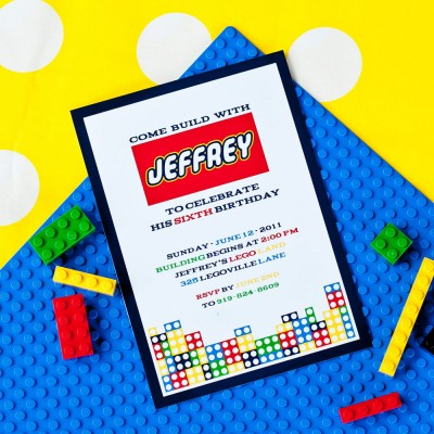 Modern Building Brick Birthday Party Printable Invitation
