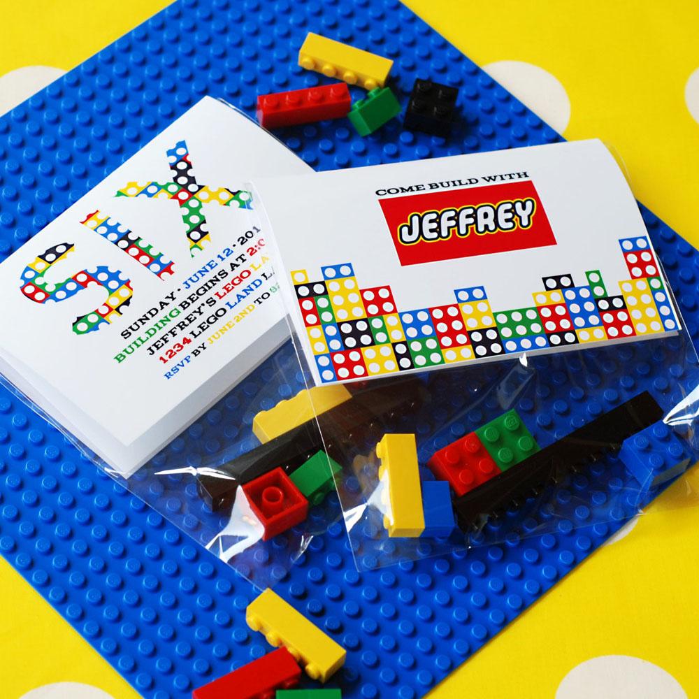 Building Bricks Birthday Party Printable Invitation Folding Bag – Lego Birthday Party Invitations