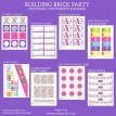 Modern Building Brick Girls Birthday Party Printable Collection