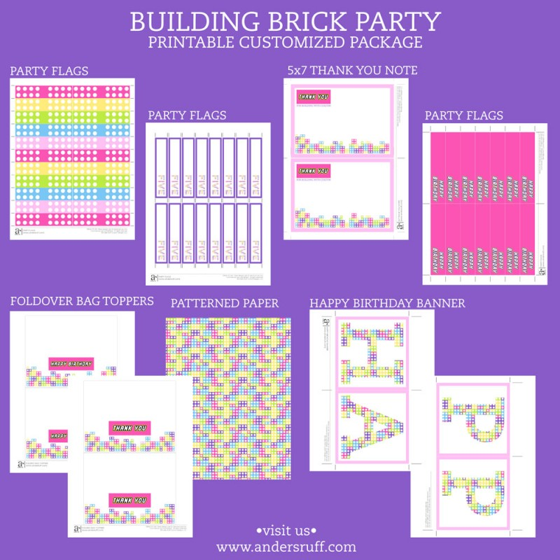 Building Brick Girls Birthday Party Printable Collection