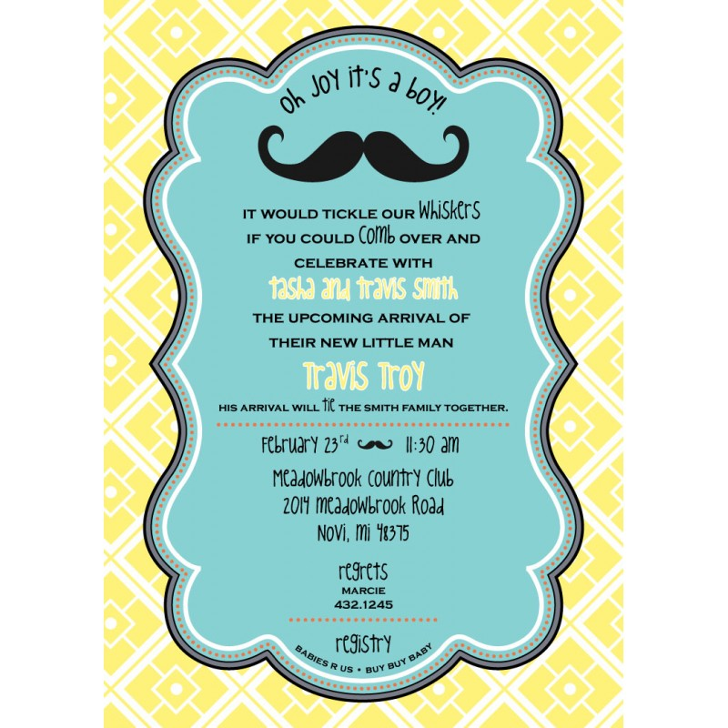 Little Man Mustache Baby Shower Printable Invitation