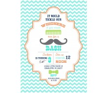 Little Man Mustache Bash Birthday Party Printable Invitation