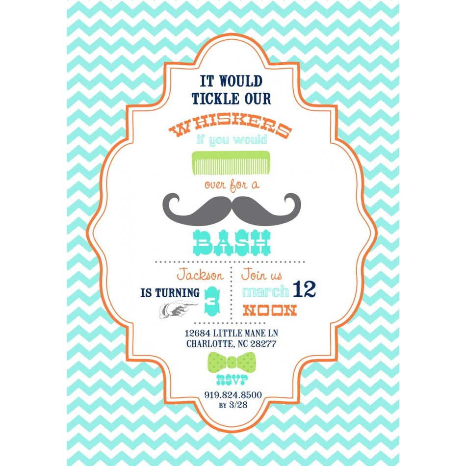 Mustache Birthday Party Invitation Templates Printables