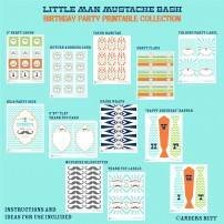 Little Man Mustache Bash Birthday Party Printables Collection