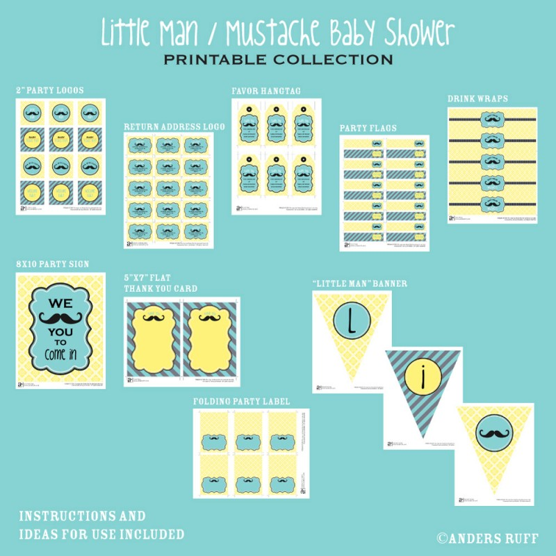 Little Man Mustache Baby Shower Printables Collection