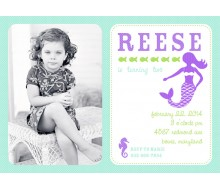 Mermaid Under the Sea Birthday Party Printable Photo Invitation - Purple and Aqua