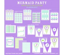 Mermaid Under the Sea Birthday Party Printable Collection - Purple and Aqua