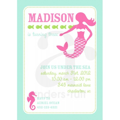 Mermaid Under the Sea Birthday Party Printable Invitation - Pink and Aqua