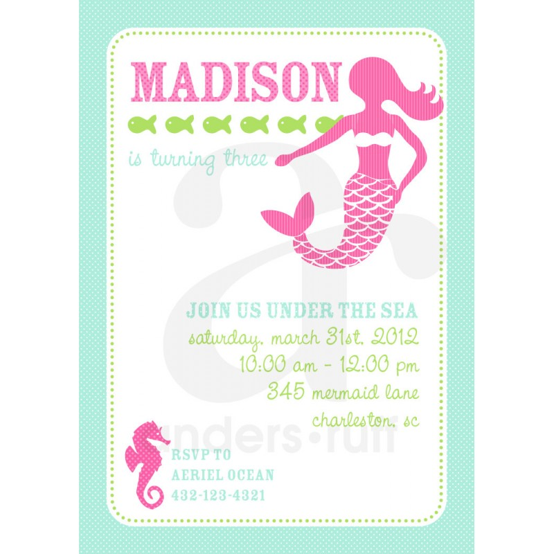 Under the Sea Birthday Party Printable Invitation Pink and Aqua – Mermaid Party Invitations Printable