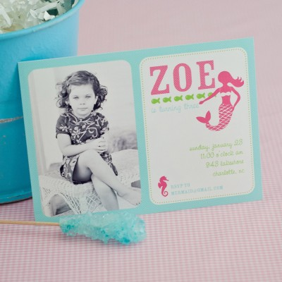Mermaid Under the Sea Birthday Party Printable Photo Invitation - Pink and Aqua