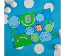 Monkey Polka Dot Printable Invitation - Blue Green